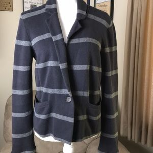 Loft one button cardigan..M..navy w/ grey stripe